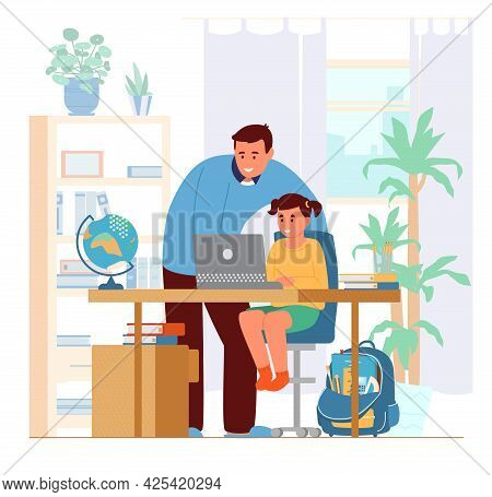 Homeschooling Concept. Father Or Tutor Teaching Girl At Home. Girl Sitting At Desk At Laptop. Flat V