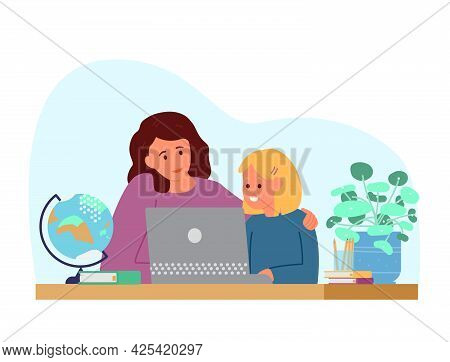Homeschool Or Online Education. Mother With Daughter Sitting In Front Of Laptop Learning. Flat Vecto
