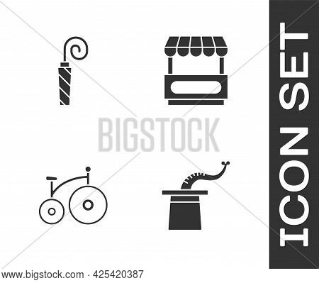 Set Magician Hat, Birthday Party Horn, Vintage Bicycle And Fast Street Food Cart Icon. Vector