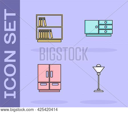 Set Floor Lamp, Library Bookshelf, Wardrobe And Chest Of Drawers Icon. Vector