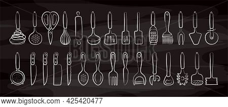 Kitchenware Sketch Set On Chalkboard. Doodle Black Line Vector Kitchen Utensils, Tools And Cutlery.