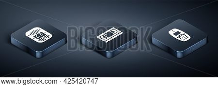 Set Isometric Cassette Tape Player, Old Mobile Phone And Vhs Video Cassette Icon. Vector