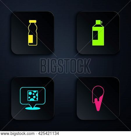 Set Ice Cream In Waffle Cone, Drinking Yogurt Bottle, Cheese And Whipped. Black Square Button. Vecto