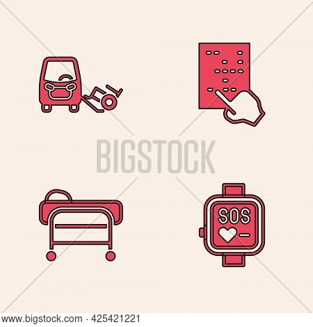 Set Smart Watch, Disabled Car, Braille And Stretcher Icon. Vector