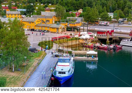 Flam, Norway - July 31, 2018: High Angle Town Summer View, Train Station With Flamsbana Train And Po