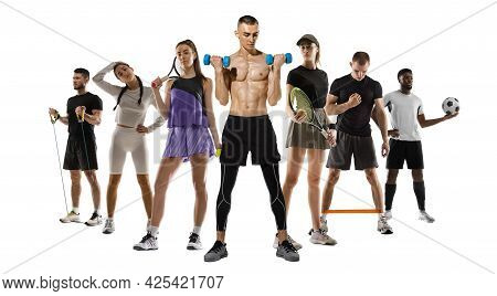 Sport Collage. Tennis, Fitness, Soccer Football Players Posing Isolated On White Studio Background.