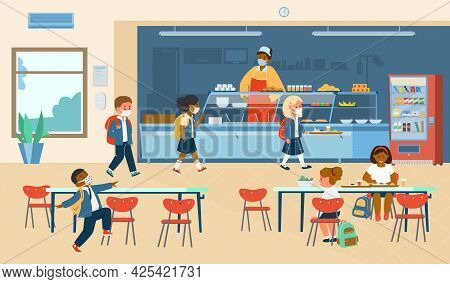 Vector School Canteen With Different Races Pupils In Protective Masks Standing In Line To Take Food