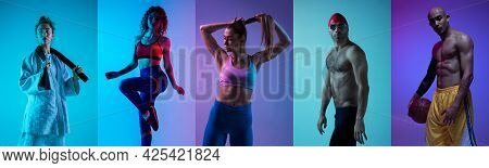 Collage Of Different Professional Sportsmen, Fit People In Action On Color Neon Background. Flyer.