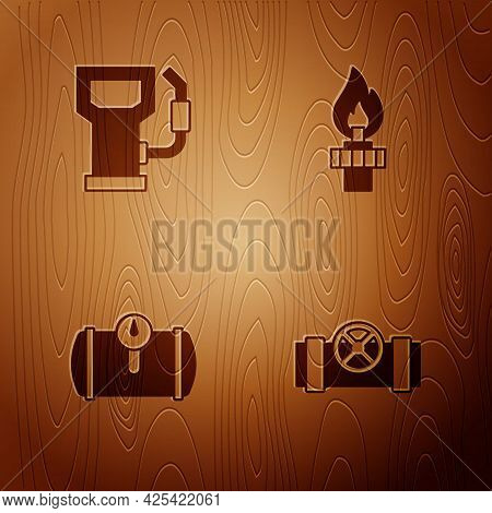 Set Metallic Pipes And Valve, Petrol Or Gas Station, Gas Tank For Vehicle And Oil Rig With Fire On W