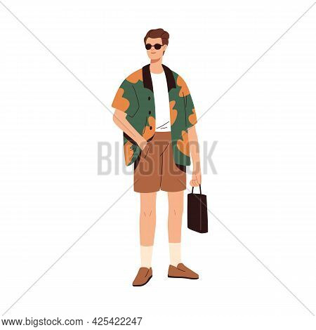 Modern Man Wearing Fashion Casual Clothes. Stylish Fashionable Summer Look. Guy In Trendy Shorts, Sh