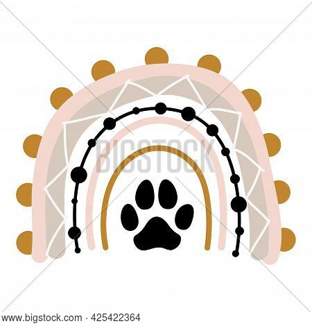 Dog Footprints In Boho Rainbow Logo. - Lovely Vector Decoration. Good For Logo Elements, Posters, Te