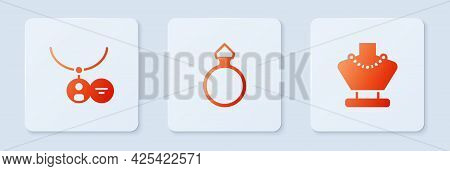 Set Diamond Engagement Ring, Locket Necklace And Necklace Mannequin. White Square Button. Vector