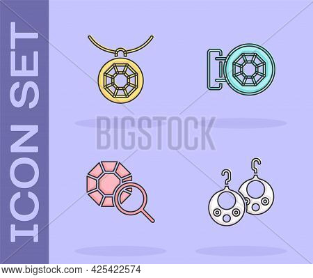 Set Earrings, Pendant On Necklace, Gem Stone And Jewelry Store Icon. Vector