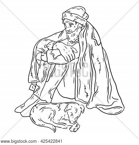 A Homeless Man Sitting With The Dog Under The Blanket