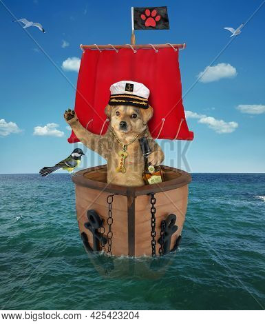 A Beige Dog Captain In A Sailor's Hat With A Bottle Of Rum Is On A Sailboat With A Red Sail On The S