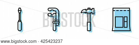 Set Line Claw Hammer, Screwdriver, Clamp Tool And Cement Bag Icon. Vector