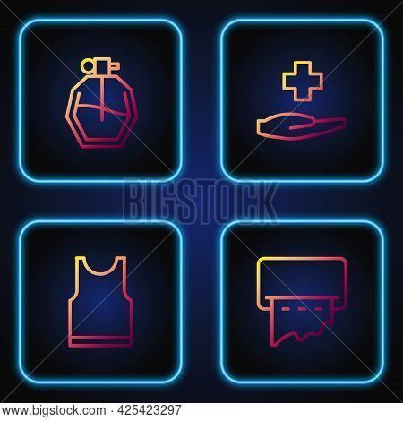 Set Line Paper Towel Dispenser On Wall, Sleeveless T-shirt, Perfume And Cross Hospital Medical. Grad
