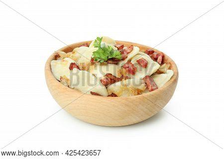 Bowl Of Vareniki Or Pierogi Isolated On White Background
