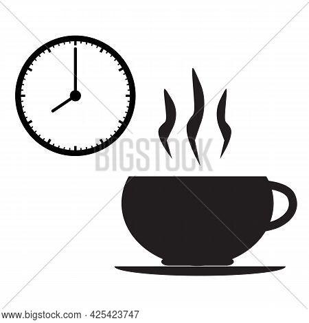 Break Time Icon On White Background. Coffee Time Sign. Tea Time Symbol. Flat Style.