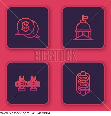 Set Line Coin Money With Dollar, Golden Gate Bridge, White House And Hotdog Sandwich. Blue Square Bu