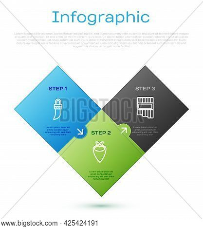Set Line Tooth, Pan Flute And Cowboy Bandana. Business Infographic Template. Vector