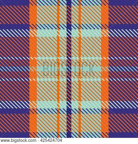 Woven Tartan Seamless Vector Pattern Background. Tropical Orange, Blue, Indigo Plaid Weave Grid Back