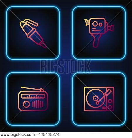 Set Line Vinyl Player, Radio With Antenna, Fountain Pen Nib And Retro Cinema Camera. Gradient Color
