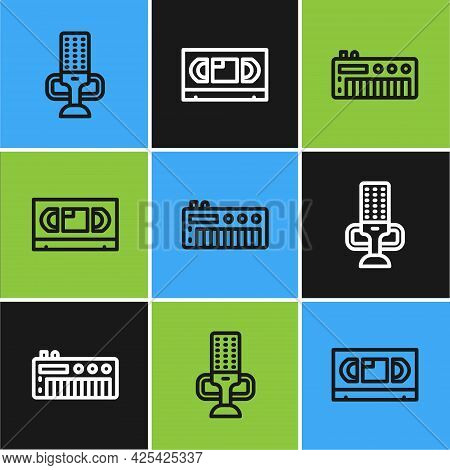 Set Line Microphone, Music Synthesizer And Vhs Video Cassette Tape Icon. Vector