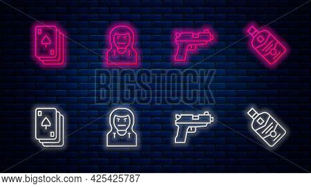 Set Line Thief Mask, Pistol Or Gun, Playing Cards And Whiskey Bottle. Glowing Neon Icon On Brick Wal