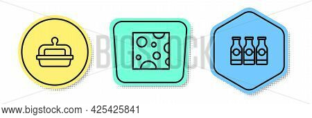 Set Line Butter In A Butter Dish, Cheese And Bottle With Milk. Colored Shapes. Vector