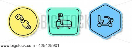 Set Line Prosthesis Hand, Hospital Bed And Electric Wheelchair. Colored Shapes. Vector
