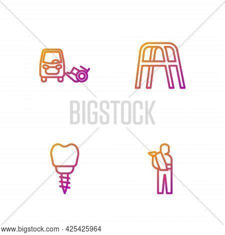 Set Line Human Broken Arm, Dental Implant, Disabled Car And Walker. Gradient Color Icons. Vector