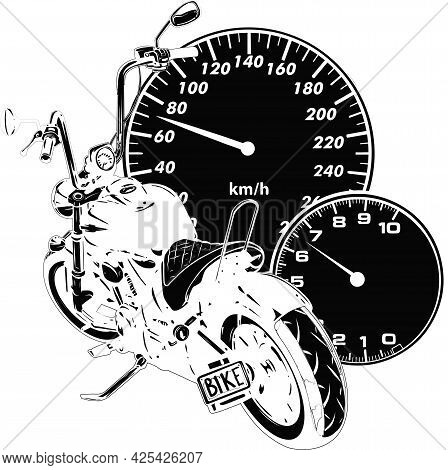 Silhouette Custom Motorcycle With Speedometer Vector Illustration