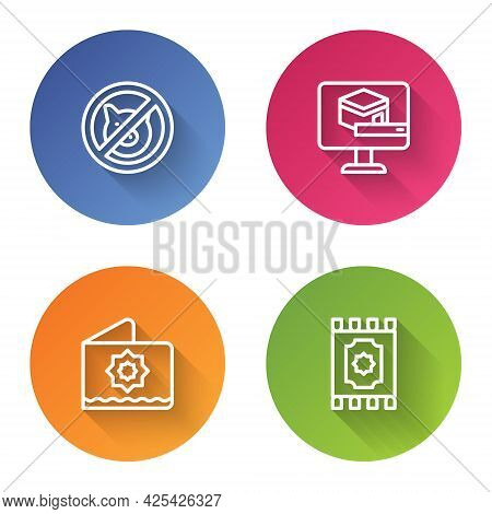 Set Line No Pig, Kaaba Mosque, Octagonal Star And Traditional Carpet. Color Circle Button. Vector