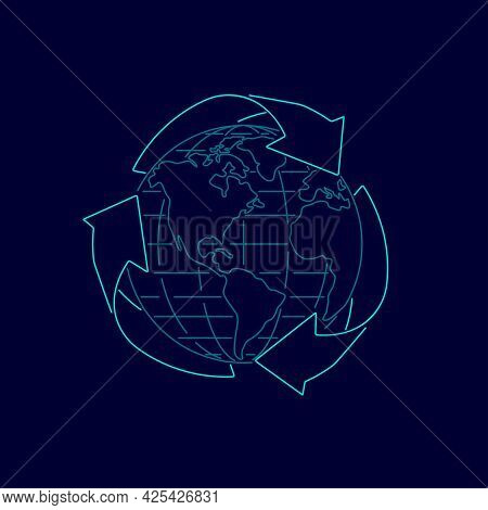 Concept Of Eco Friendly, Graphic Of Recycle Symbol With Globe