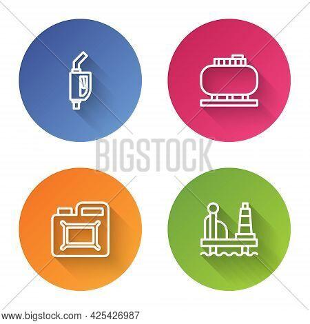 Set Line Gasoline Pump Nozzle, Oil Tank Storage, Canister For Motor Oil And Platform The Sea. Color