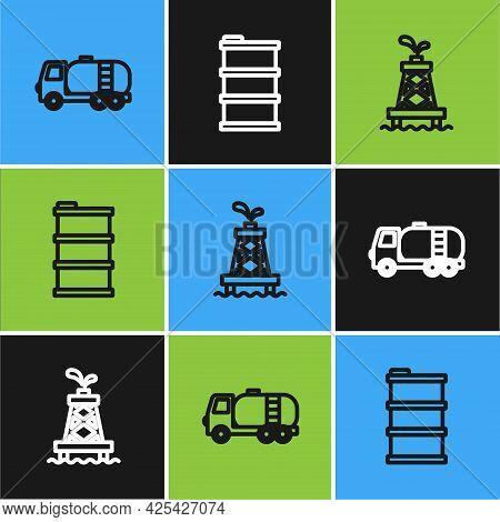 Set Line Tanker Truck, Oil Rig And Barrel Oil Icon. Vector