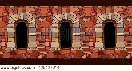 Horizontal Seamless Pattern, Ancient Stone Wall With Windows, Part Of A Prison Or Fortress Made Of B