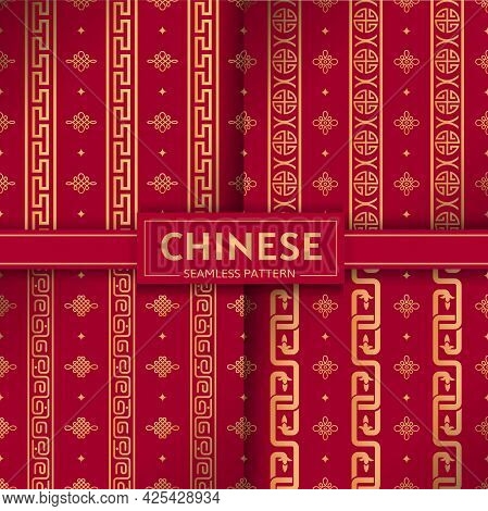 Chinese Seamless Pattern. Vector Set. Geometric Vertical Chains, Chinese Knots Textures. Curls, Circ