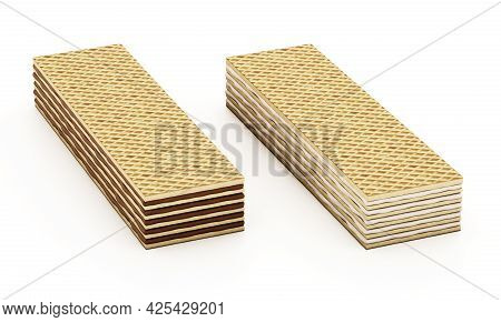 Chocolate And Vanilla Flavoured Wafers Isolated On White Background. 3d Illustration.