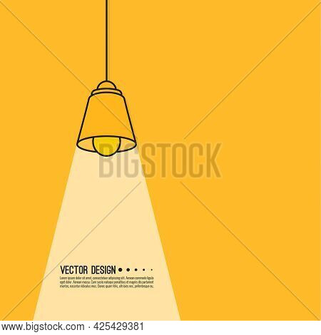 Pendant Electric Lamp With Shade. Vector Illustration With Ceiling Lamp.