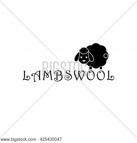 Lambswool Logo With Cute Sheep. Lamb Black And White Silhouette On White Background. Vector Drawing.