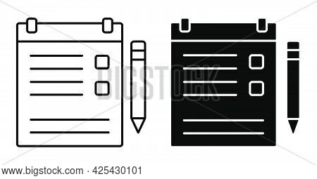 Linear Icon. Tablet With Clip For Sheet Of Paper. Tablet For Keeping List, List Of Important Things