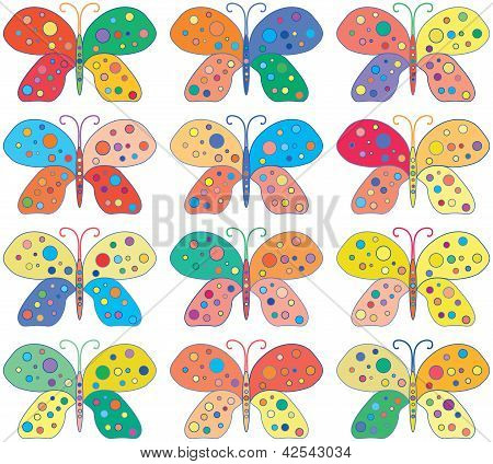 Seamless vector Bright Colorful Butterflies Background