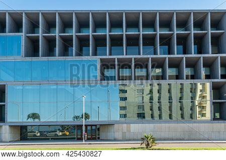 Palma De Mallorca, Spain; June 25 2021: Main Facade Of The Congress Palace Of Palma De Mallorca At S