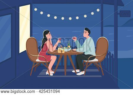 Couple On Romantic Night Date Flat Color Vector Illustration. Lovers Sitting At Table With Wine And