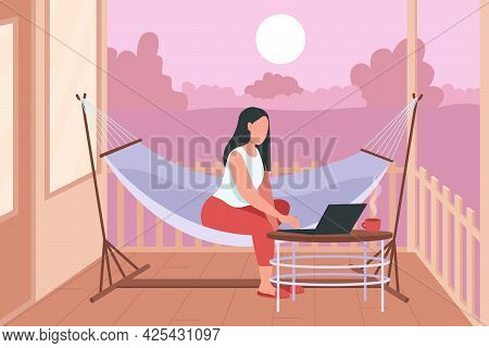 Woman In Hammock With Laptop Flat Color Vector Illustration. Relaxation In Home Backyard. Weekend Lo