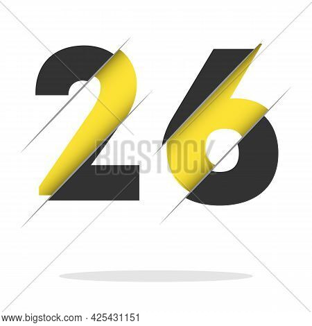 26 2 6 Number Logo Design With A Creative Cut And Black Circle Background. Creative Logo Design.