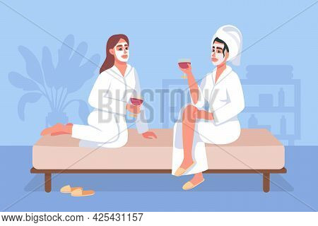 Spa Day At Home Flat Color Vector Illustration. Women In Cosmetic Facial Masks And Bath Robes Drink