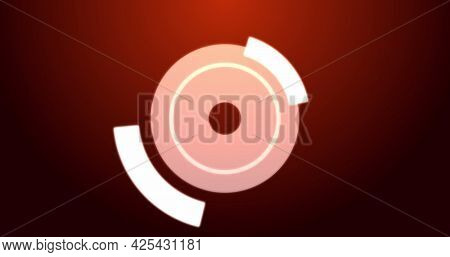 Image of digital interface circles flashing on red background. technology, computing and digital interface concept digitally generated image.